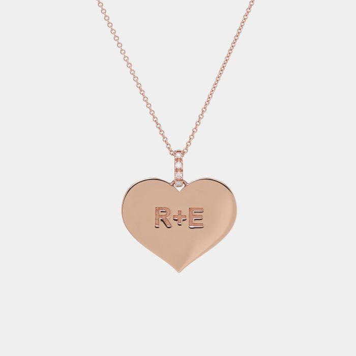 Girocollo con ciondolo personalizzato in oro rosa e diamanti - Rosanna Cattolico gioielli