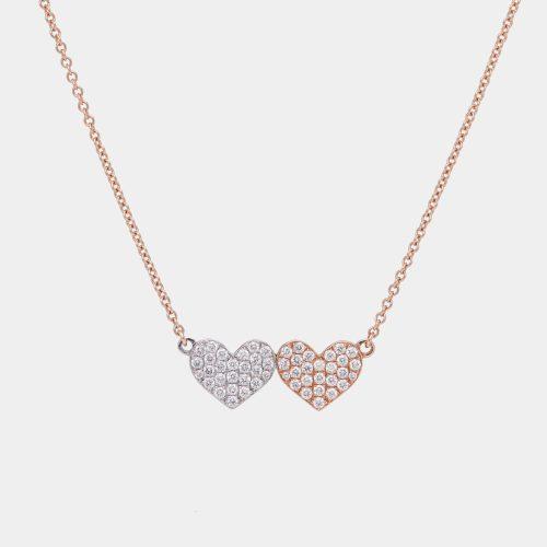 Girocollo in oro rosa con cuori in pavè di diamnti bianchi - Rosanna Cattolico gioielli