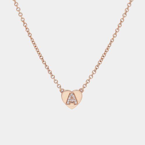 Collana in oro rosa e diamanti con letterina - Rosanna Cattolico gioielli