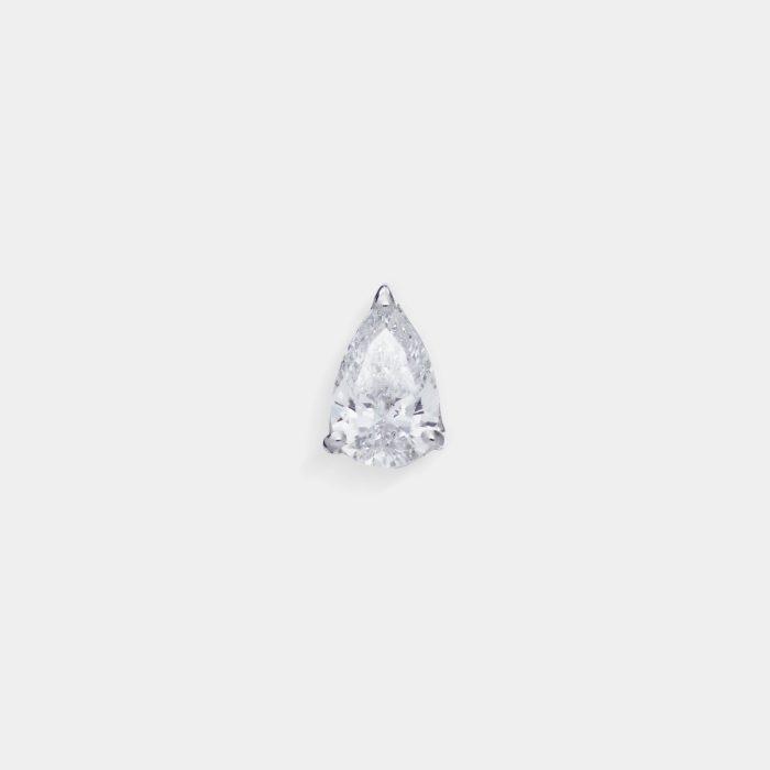 Mono Orecchino in oro bianco goccia di diamante - Rosanna Cattolico gioielli