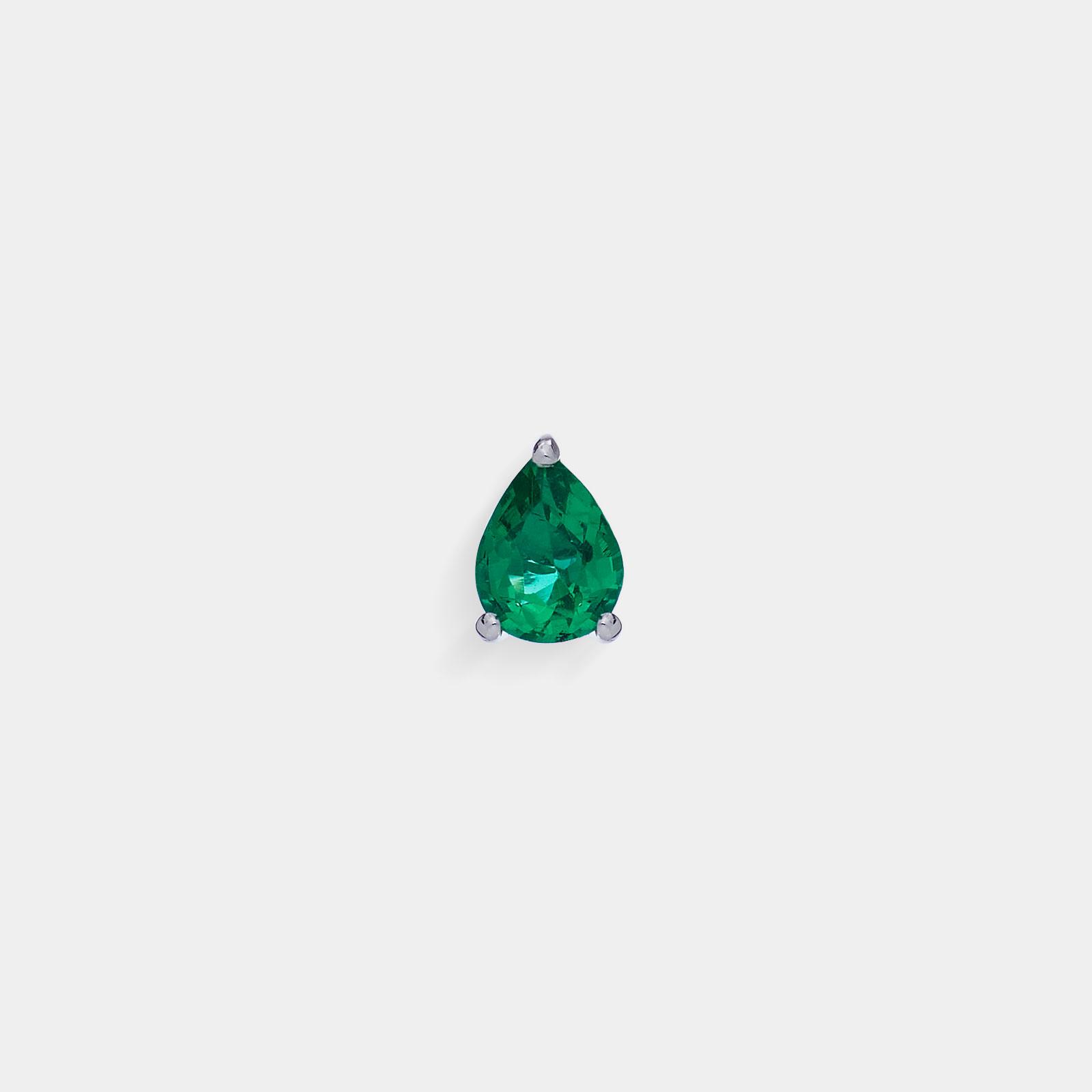 Mono Orecchino in oro bianco goccia di smeraldo - Rosanna Cattolico gioielli