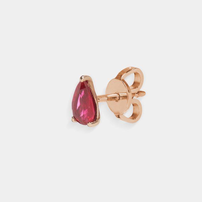Mono Orecchino in oro rosa goccia di rubino - Rosanna Cattolico gioielli