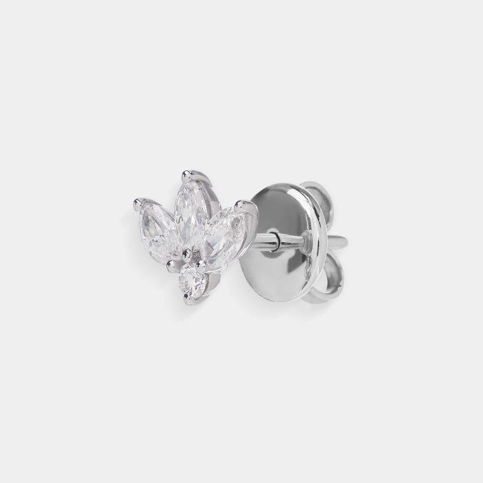 Mono Orecchini fantasia in oro bianco e diamanti - Rosanna Cattolico gioielli