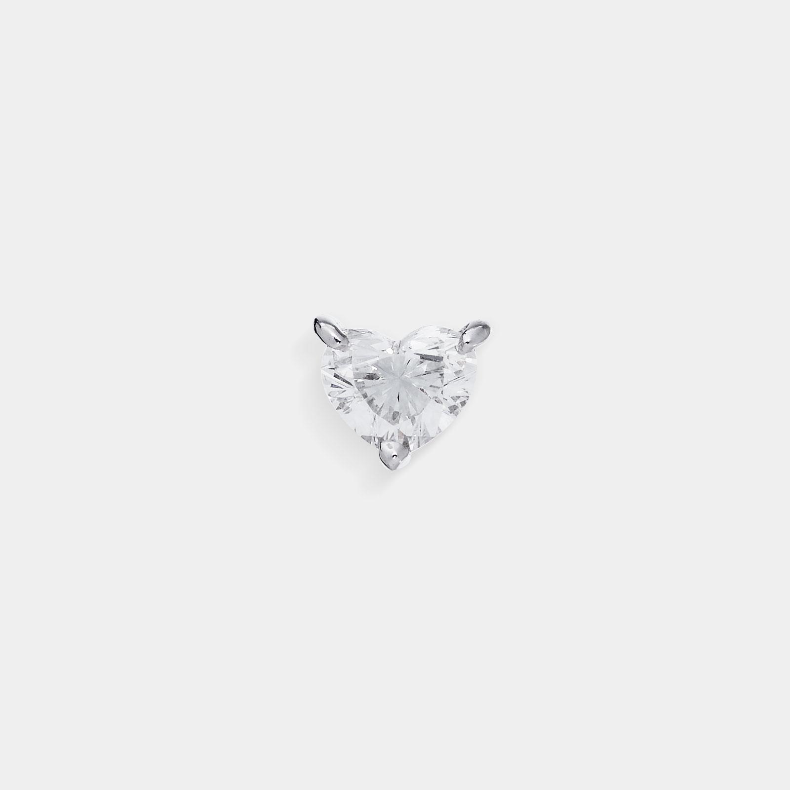 Mono Orecchino in oro bianco con solitario cuore in diamante - Rosanna Cattolico gioielli