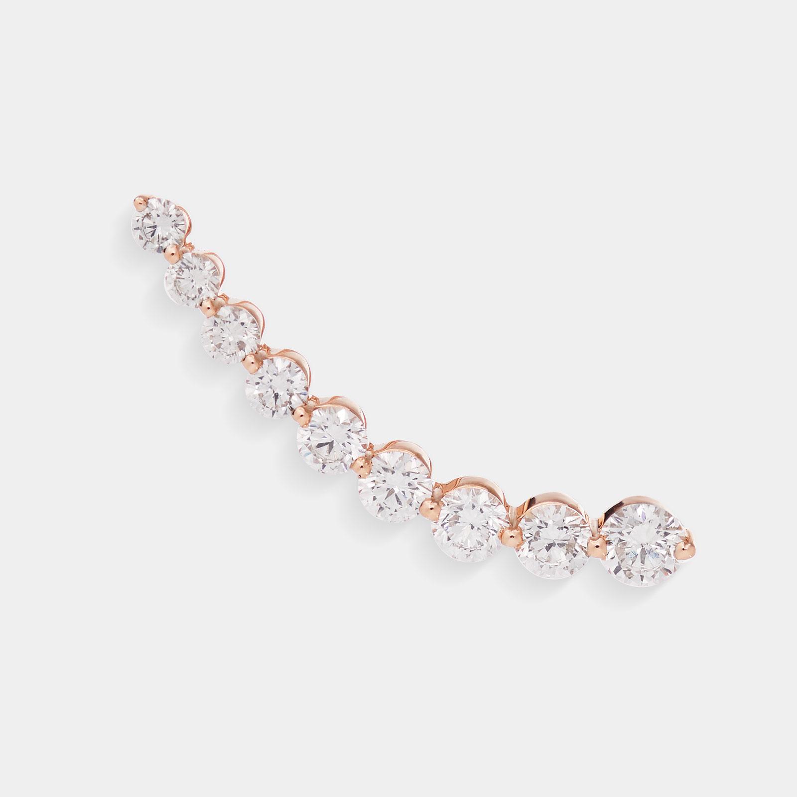 Mono Orecchino earcuff in oro rosa e diamanti - Rosanna Cattolico gioielli