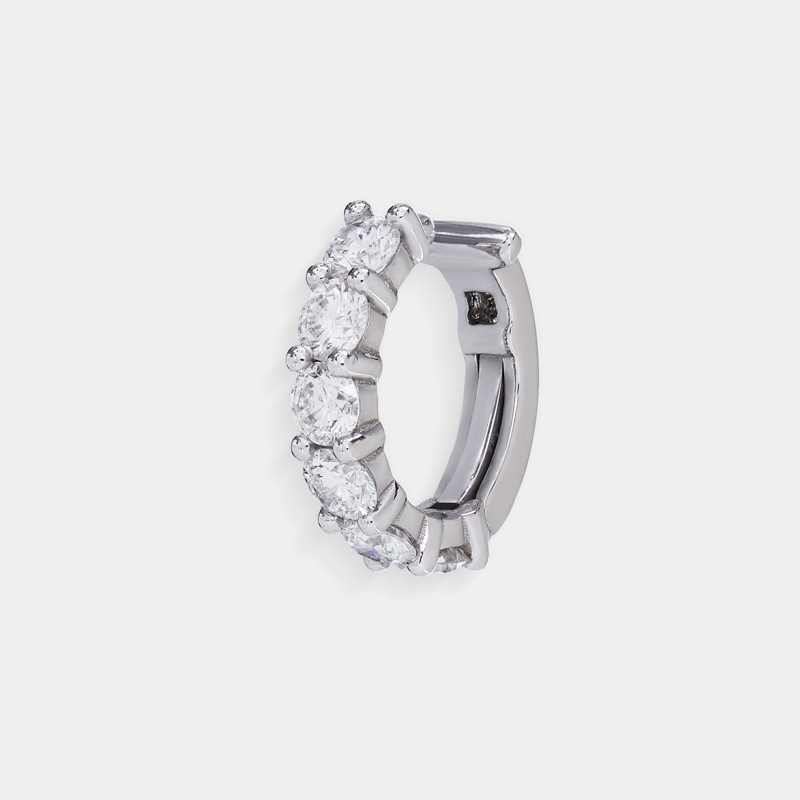 Mono Orecchino cerchietto in oro bianco e diamanti - Rosanna Cattolico gioielli