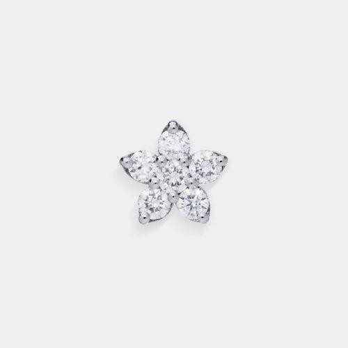 Mono Orecchini in oro bianco fiore in diamanti - Rosanna Cattolico gioielli