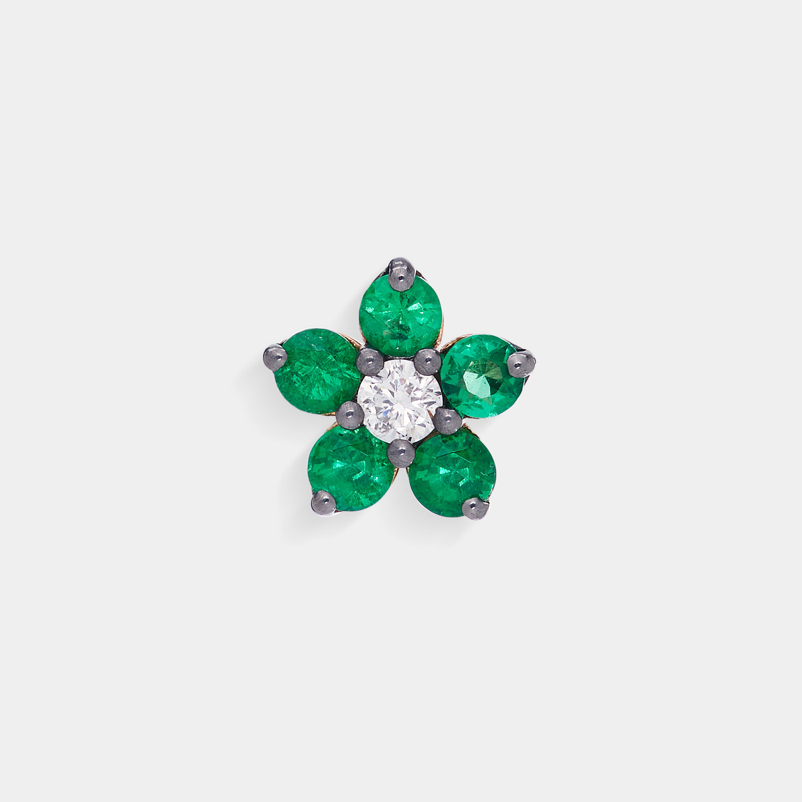 Mono Orecchini in oro bianco fiore in diamanti e smeraldi - Rosanna Cattolico gioielli