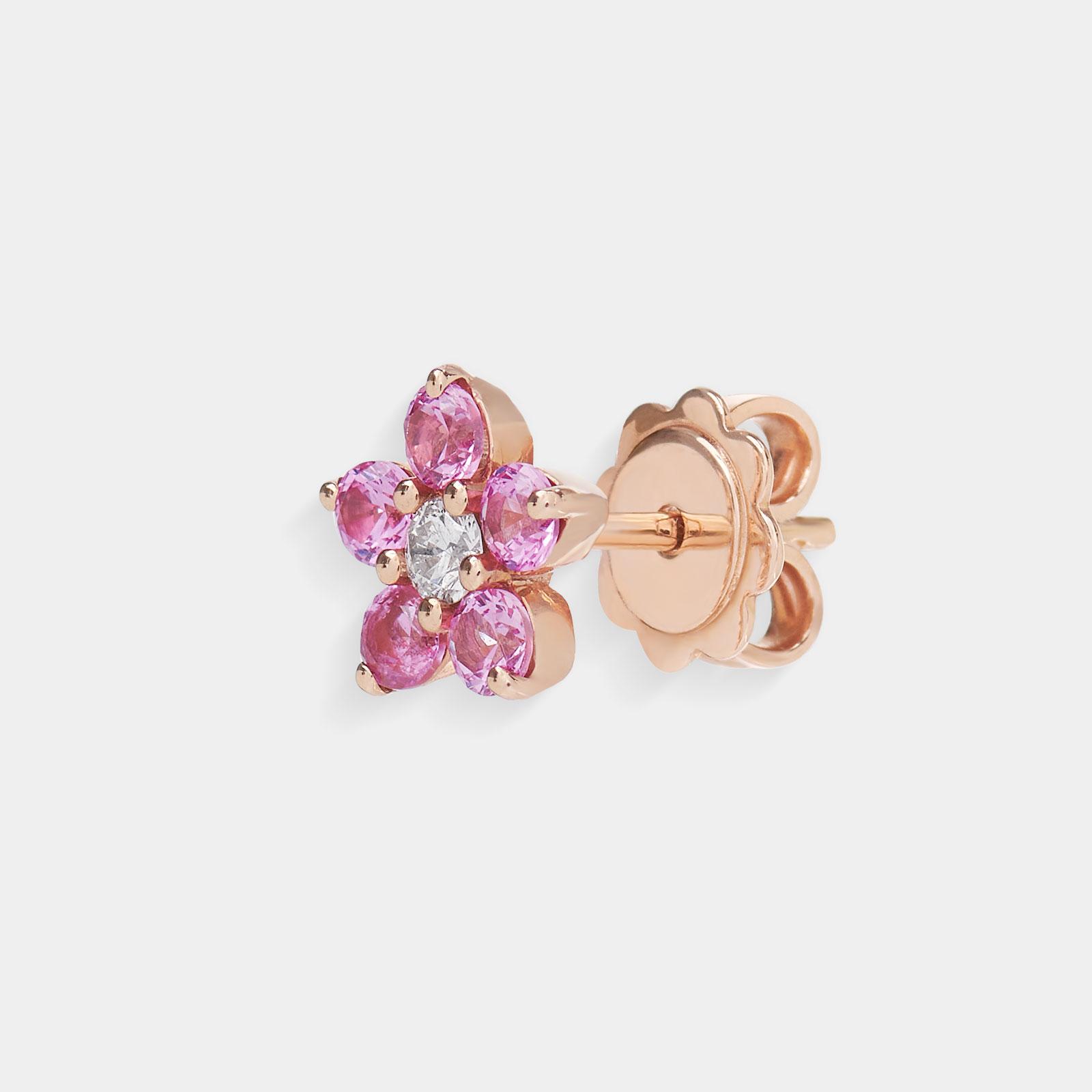 Mono Orecchini in oro bianco fiore in diamanti e zaffiri rosa - Rosanna Cattolico gioielli