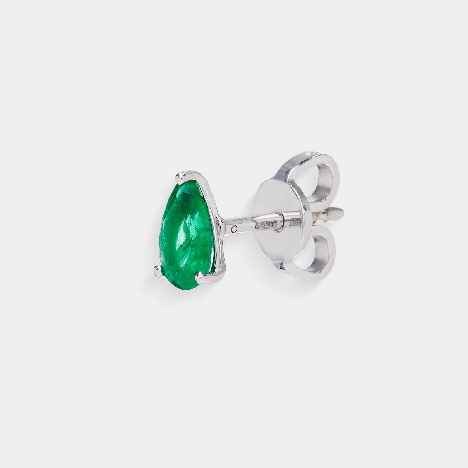 Mono Orecchino a goccia in oro bianco e smeraldo - Rosanna Cattolico gioielli