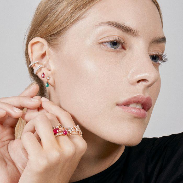 Mono Orecchino in oro rosa con diamante e goccia smeraldo - Rosanna Cattolico gioielli