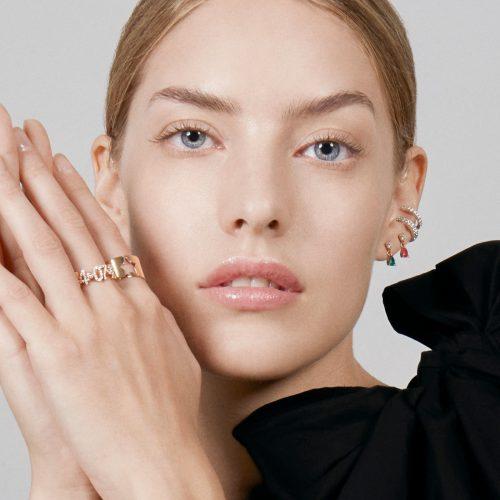 Mono Orecchino con goccia in oro rosa diamante e zaffiro rosa - Rosanna Cattolico gioielli