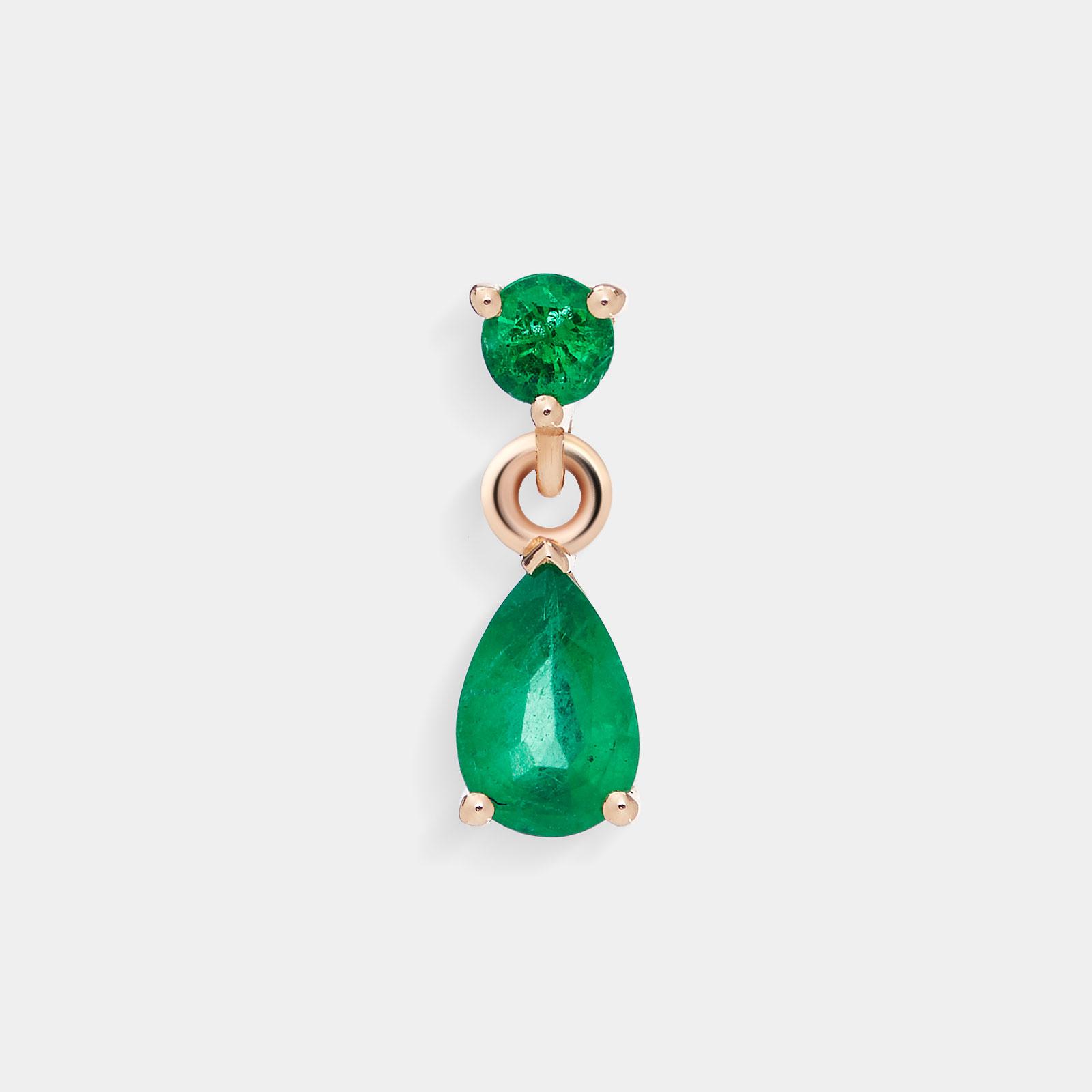 Mono Orecchino con goccia in oro rosa e smeraldi - Rosanna Cattolico gioielli