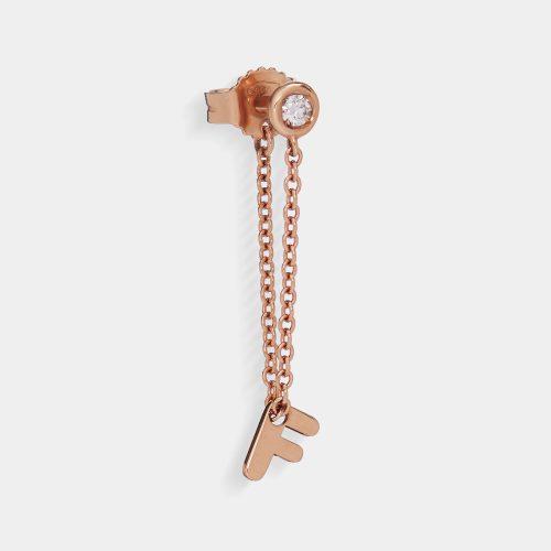 Mono orecchino in oro rosa e diamante con letterina pendente - Rosanna Cattolico gioielli