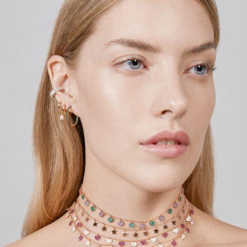 Mono Orecchino cerchietto in oro rosa con stellina pendente in diamanti - Rosanna Cattolico gioielli
