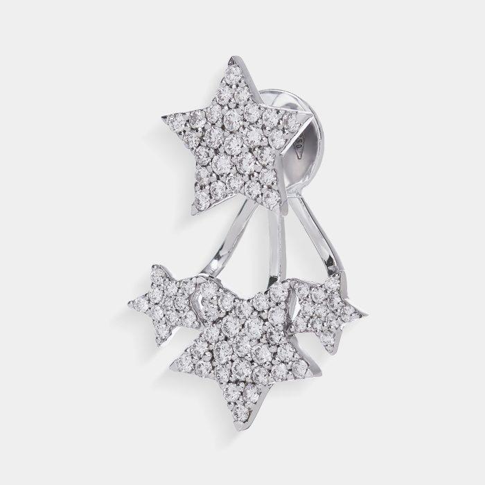 Mono Orecchino in oro bianco con stelle in diamanti - Rosanna Cattolico gioielli