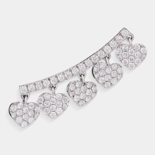 Mono Orecchino earcuff in oro bianco con cuori in diamanti - Rosanna Cattolico gioielli