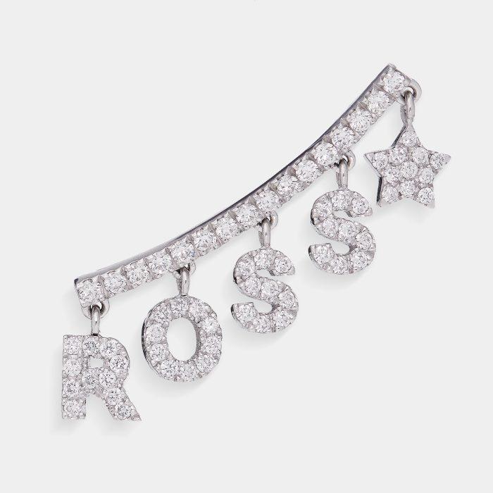 Mono Orecchino earcuff personalizzato in oro bianco e diamanti bianchi - Rosanna Cattolico gioielli