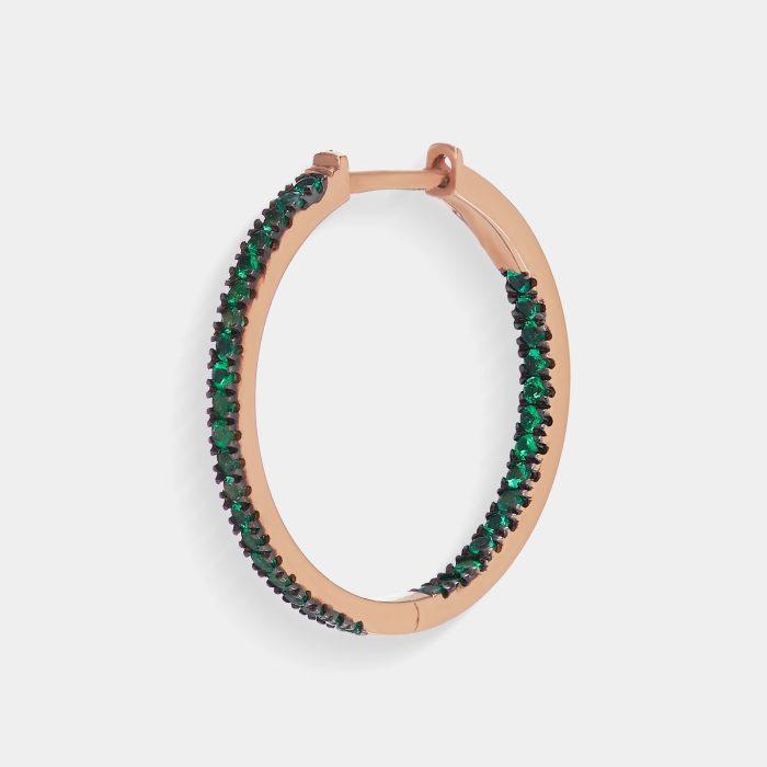 Mono Orecchino cerchietto in oro rosa e smeraldi - Rosanna Cattolico gioielli