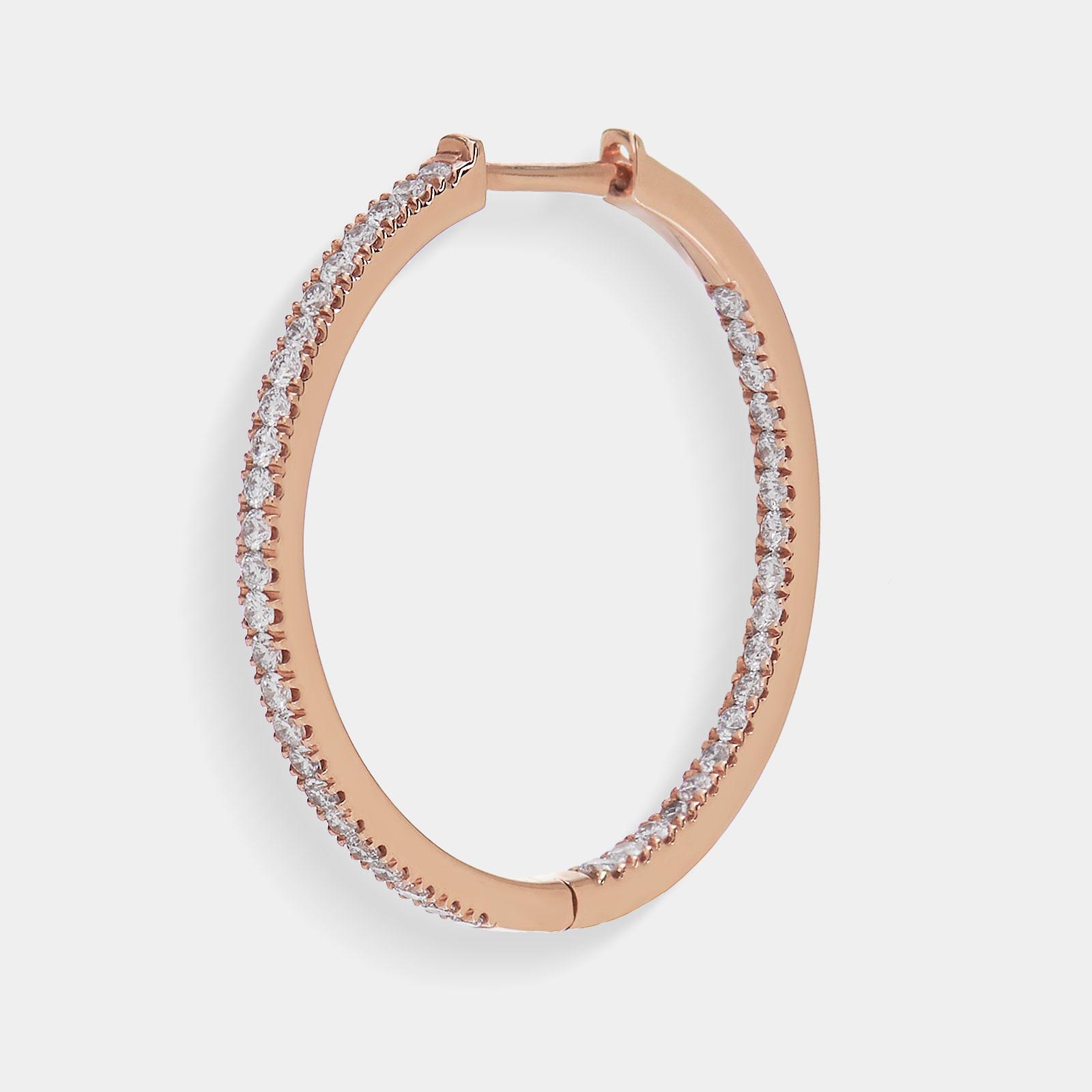 Mono Orecchino cerchio in oro rosa e diamanti - Rosanna Cattolico gioielli