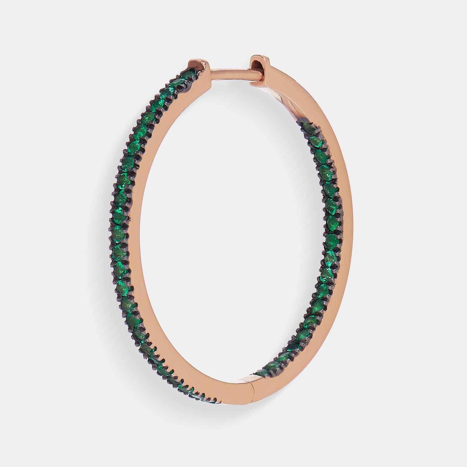 Mono Orecchino cerchio in oro rosa e smeraldi - Rosanna Cattolico gioielli