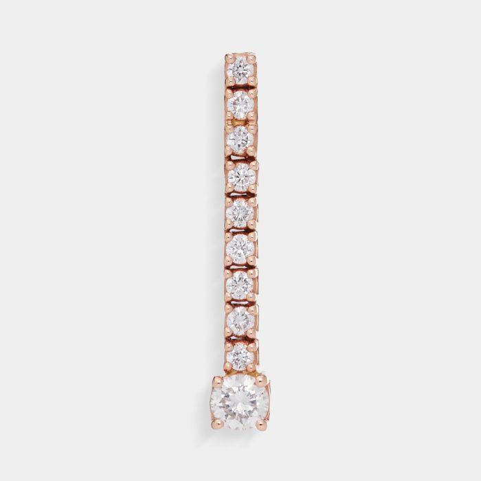 Mono Orecchino tennis in oro rosa e diamanti Rosanna Cattolico gioielli