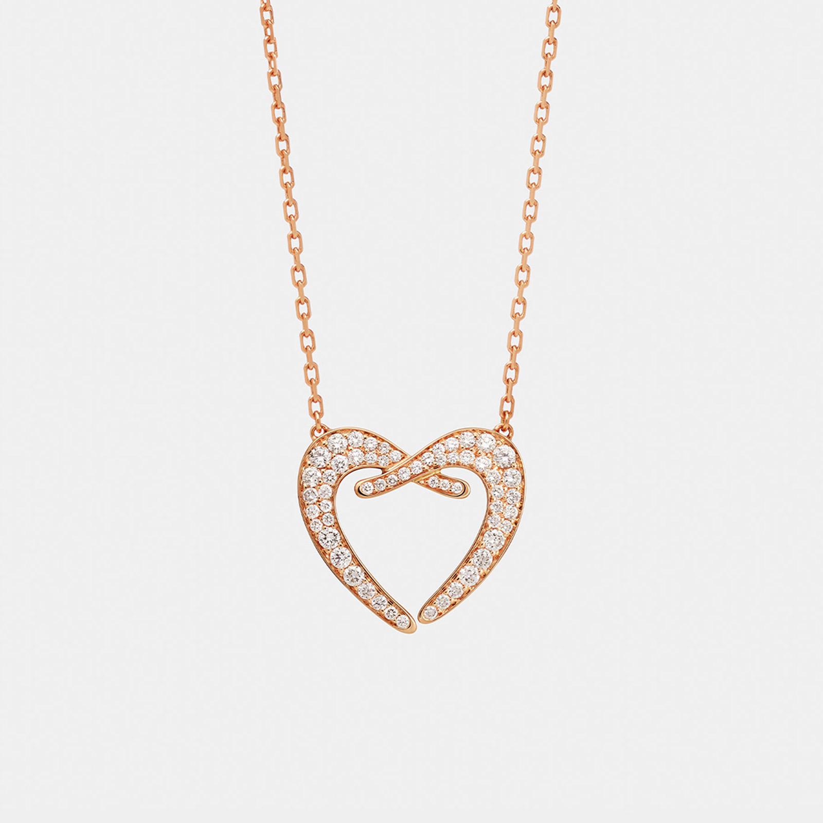 """Crivelli - Girocollo con pendente cuore in oro rosa e diamanti modello """"Incontro"""" della collezione """"Ora più che mai"""" - Rosanna Cattolico gioielli"""