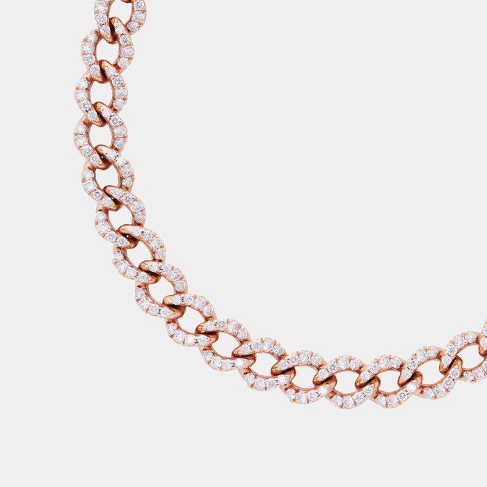 Bracciale morbido groumette in oro rosa e diamanti - Rosanna Cattolico gioielli