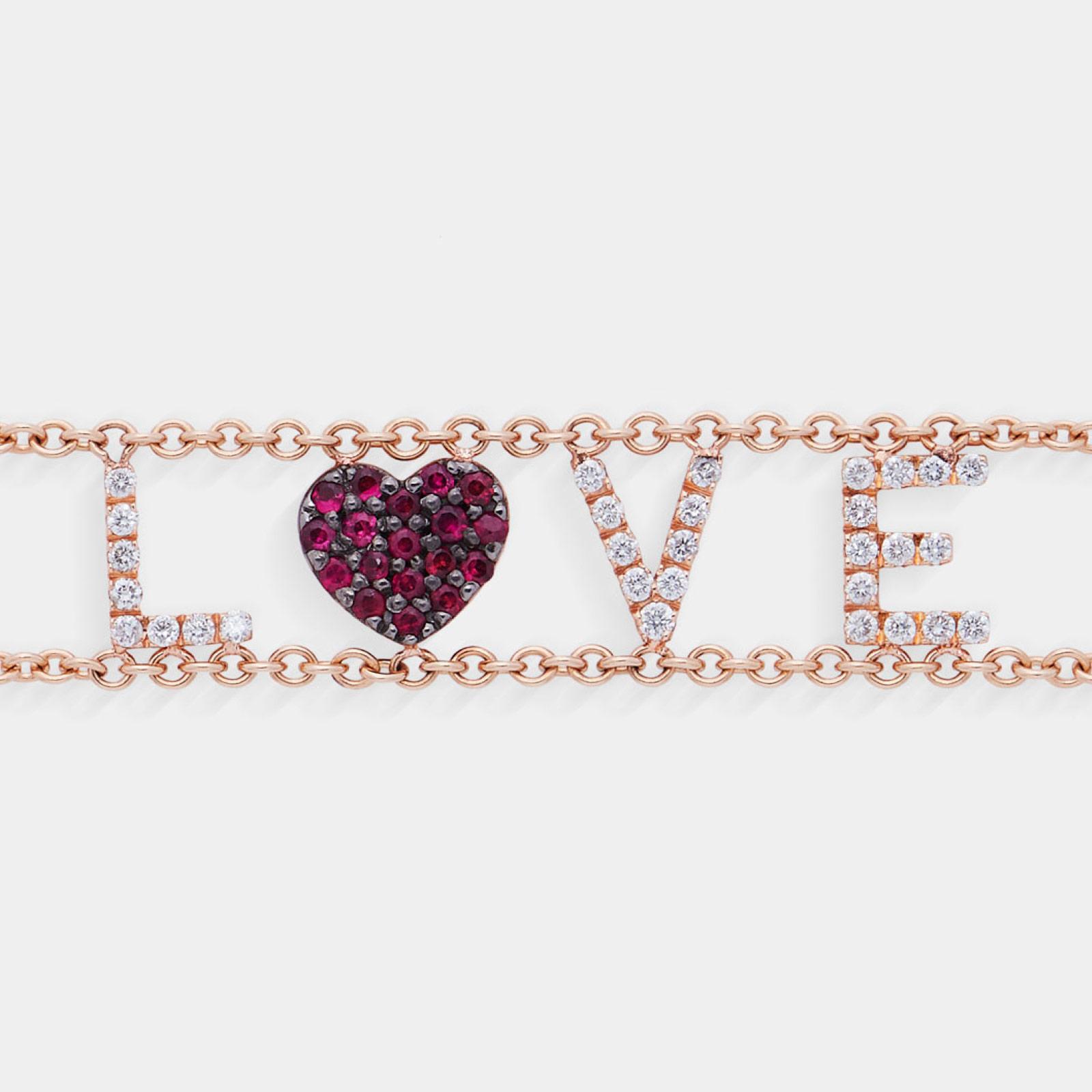 Bracciale morbido con doppia catena personalizzato in oro rosa diamanti e rubini