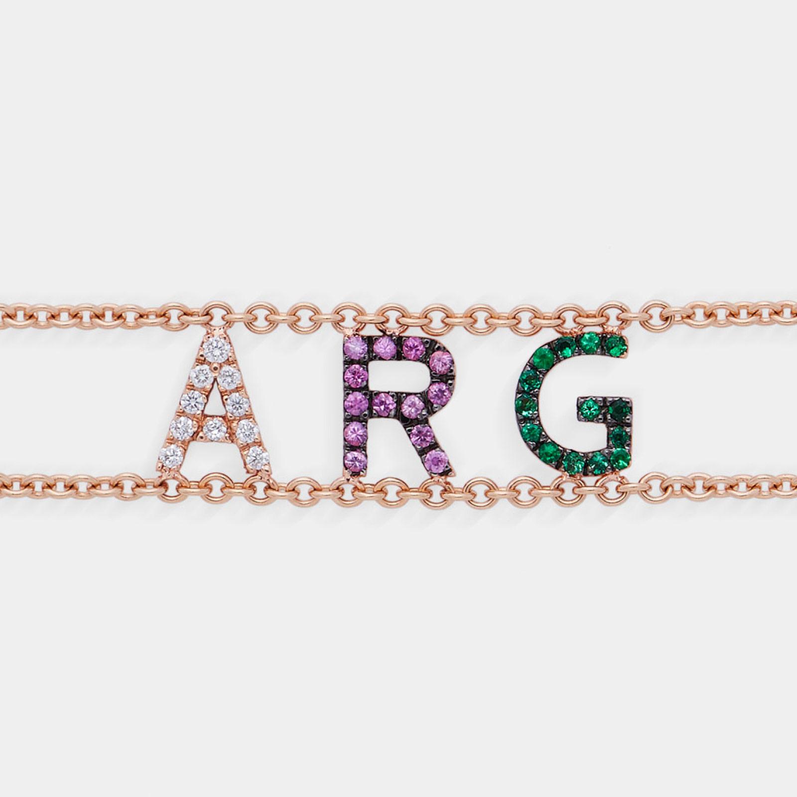 Bracciale morbido con doppia catena personalizato in oro rosa diamanti, zaffiri e smeraldi- Rosanna Cattolico gioielli