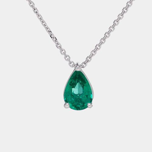 Collana goccia pendente in oro bianco e smeraldo - Rosanna Cattolico gioielli