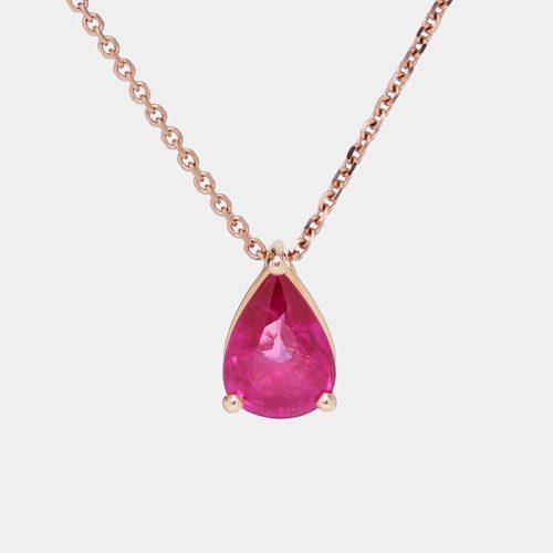 Collana goccia pendente in oro rosa e rubino - Rosanna Cattolico gioielli