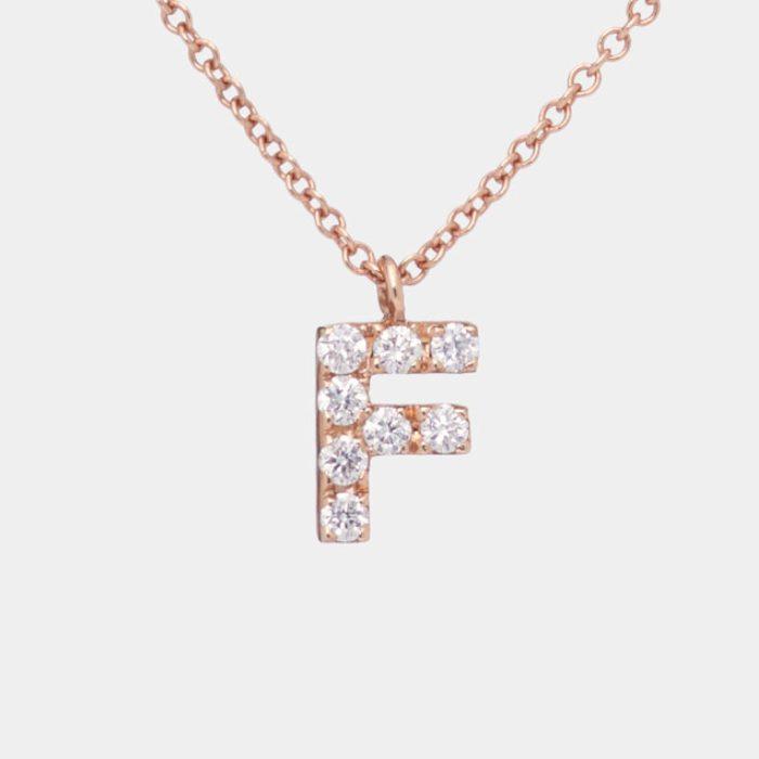 Girocollo in oro rosa con letterina in diamanti bianchi - Rosanna Cattolico gioielli