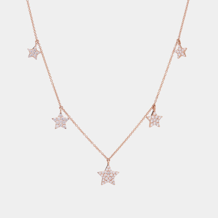Girocollo in oro rosa con stelline in diamanti - Rosanna Cattolico gioielli