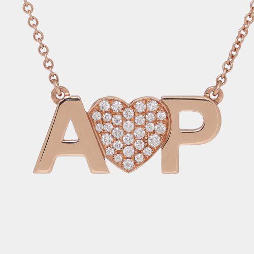 Girocollo in oro rosa personalizzato con cuore in diamanti bianchi - Rosanna Cattolico gioielli