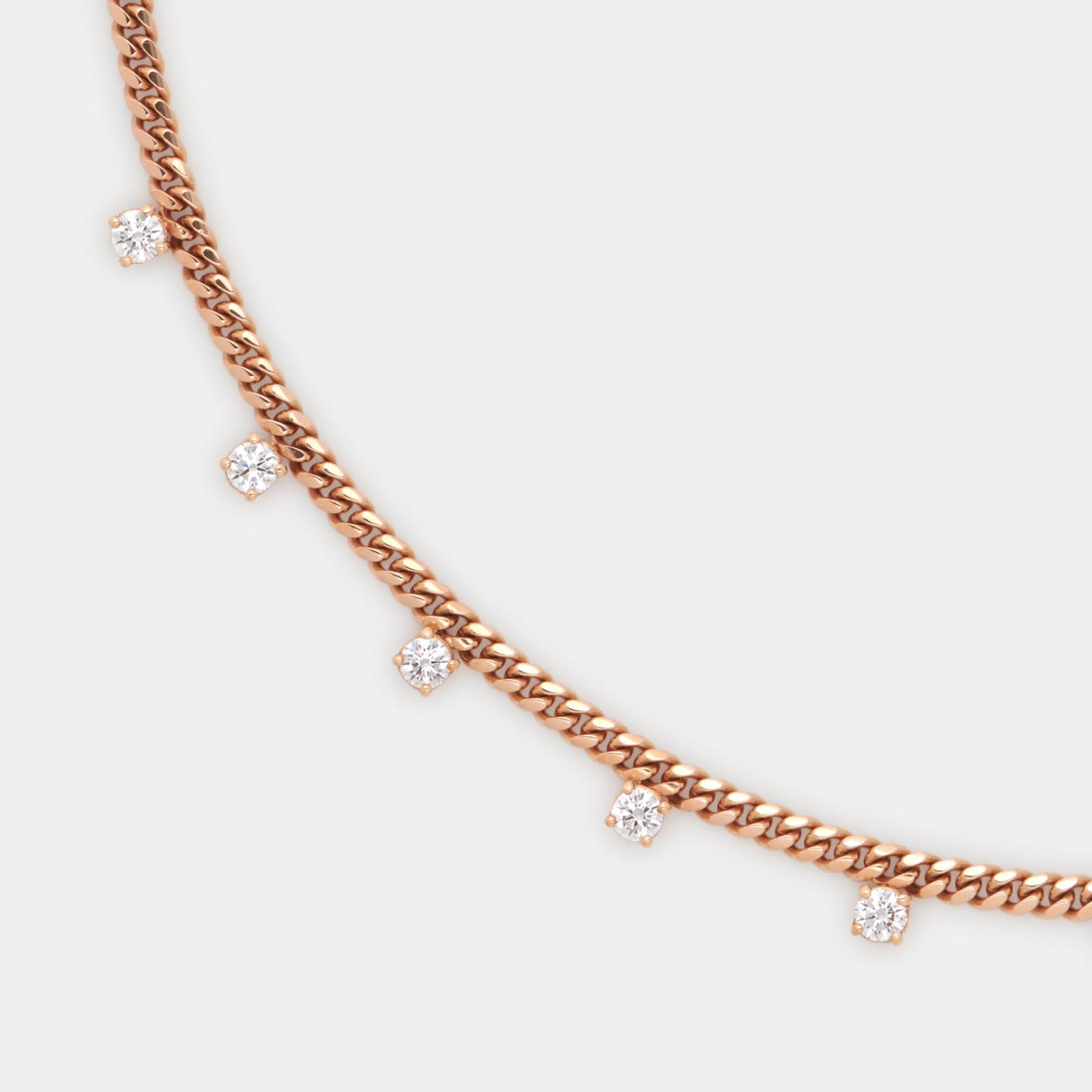 Choker piccola groumette in oro rosa e diamanti bianchi - Rosanna Cattolico gioielli