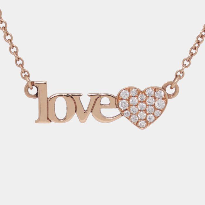 Girocollo personalizzato in oro rosa e cuori diamanti bianchi - Rosanna Cattolico gioielli