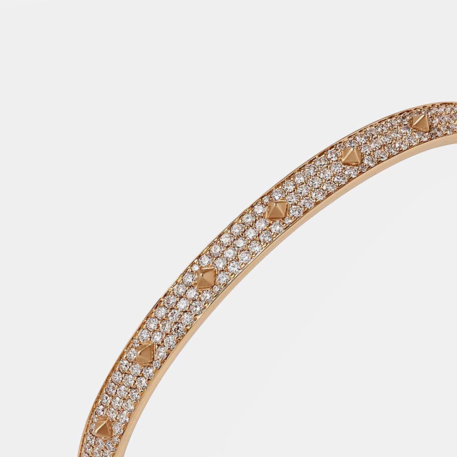 Crivelli - Bracciale rigido in oro rosa con borchie e pavè di brillanti - Rosanna Cattolico gioielli