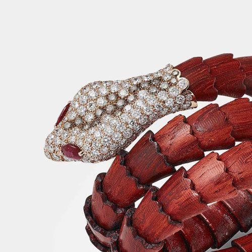 Crivelli - Bracciale rigido in legno padouk, oro rosa e diamanti - Rosanna Cattolico gioielli