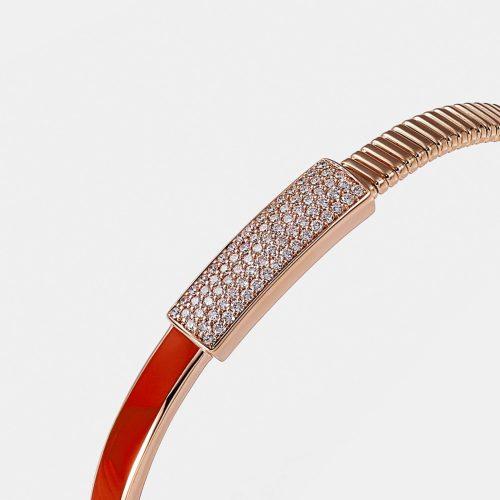 Crivelli - Bracciale tubogas in oro rosa, smalto e pavè di diamanti Rosanna Cattolico gioielli