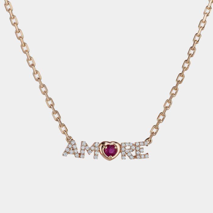 Crivelli - Girocollo in oro rosa con la scritta Amore in brillanti e rubino Rosanna Cattolico gioielli