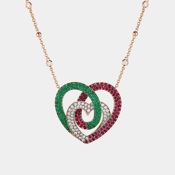 """Crivelli - Girocollo con pendente cuore tricolore in diamanti, rubini modello """"Infinito"""" della collezione """"Ora più che mai"""" personalizzato in oro rosa e cuori diamanti bianchi - Rosanna Cattolico gioielli"""