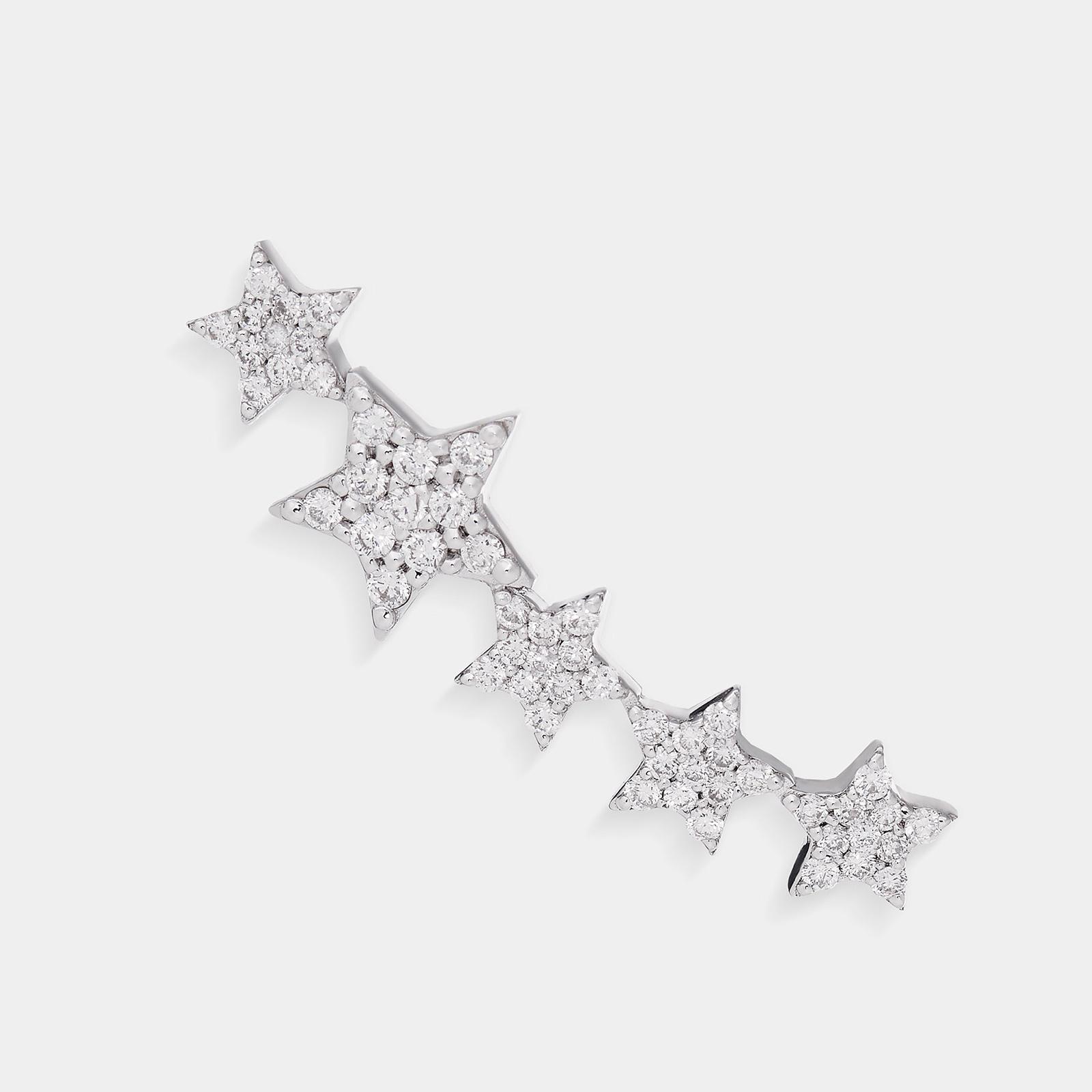 Mono Orecchino earcuff in oro bianco con stelline in diamanti - Rosanna Cattolico gioielli