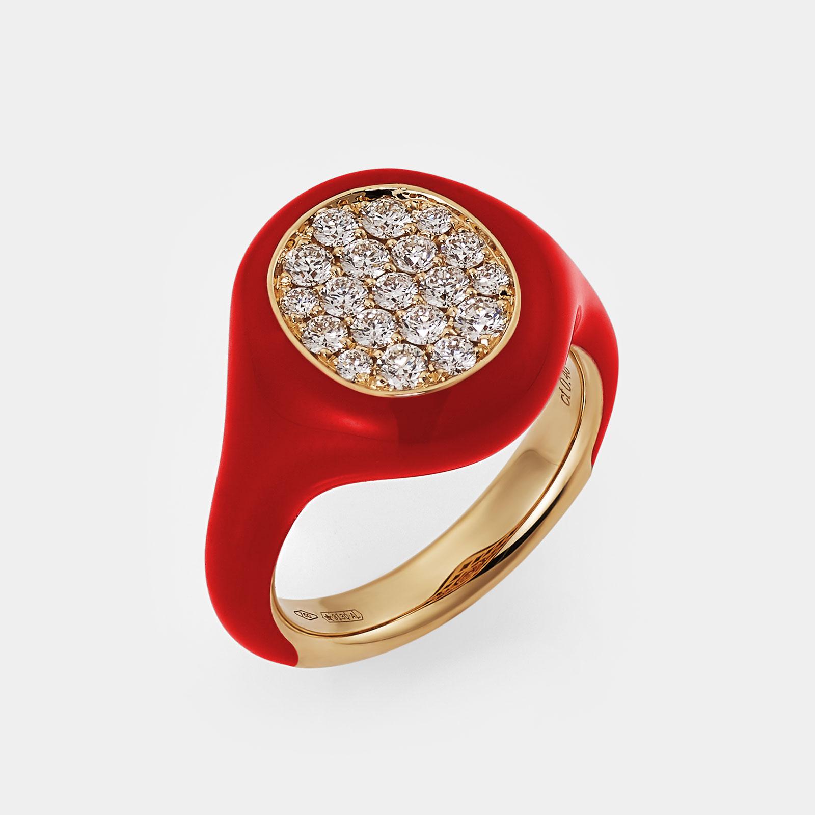 Crivelli - Anello Chevalier in oro rosa smalto rosso e pavè di brillanti Rosanna Cattolico gioielli