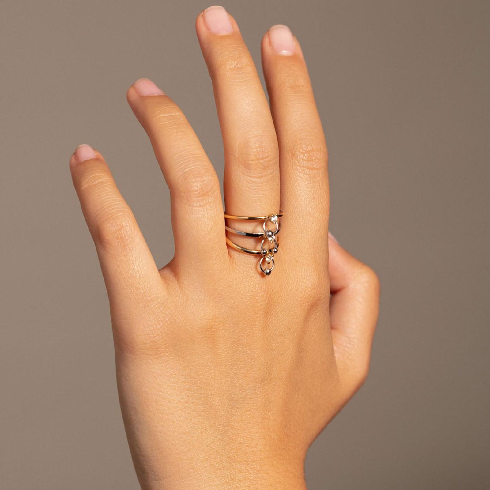 Delfina Delettrez - Triplo anello Two in One in oro giallo e bianco e diamanti bianchi Rosanna Cattolico gioielli