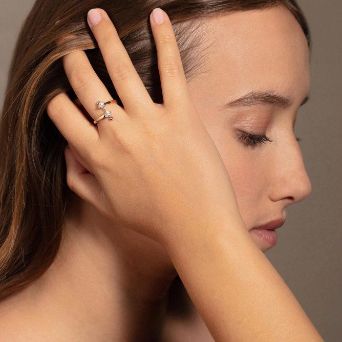 Delfina Delettrez - Anello contrariè Two in One in oro giallo e bianco, diamanti bianchi e perla bianca Rosanna Cattolico gioielli