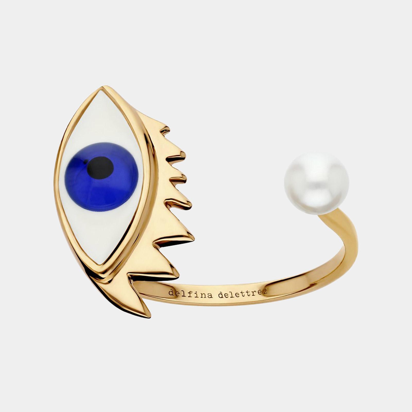 Delfina Delettrez - Anello aperto Eye Piercing in oro giallo, smalto e perla bianca Rosanna Cattolico gioielli