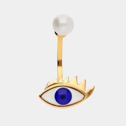 Delfina Delettrez - Mono orecchino Eye Piercing in oro giallo, smalto e perla bianca
