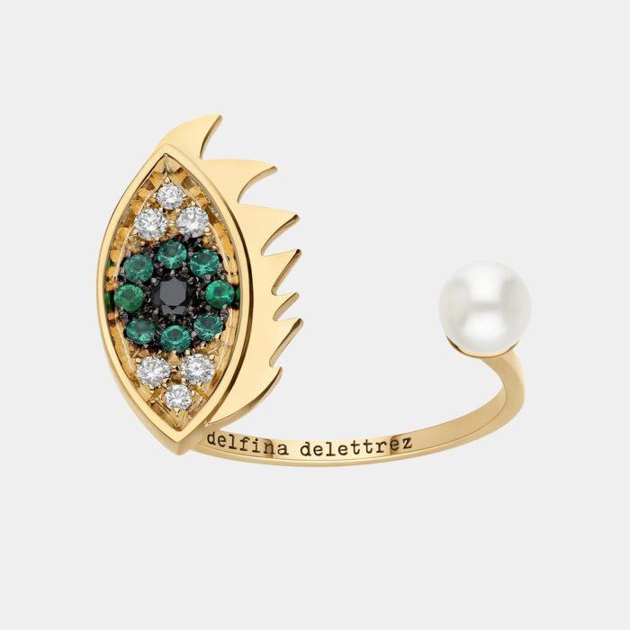 Delfina Delettrez - Anello aperto Eyes On Me Piercing in oro rosa, diamanti bianchi e neri e smeraldi Rosanna Cattolico gioielli