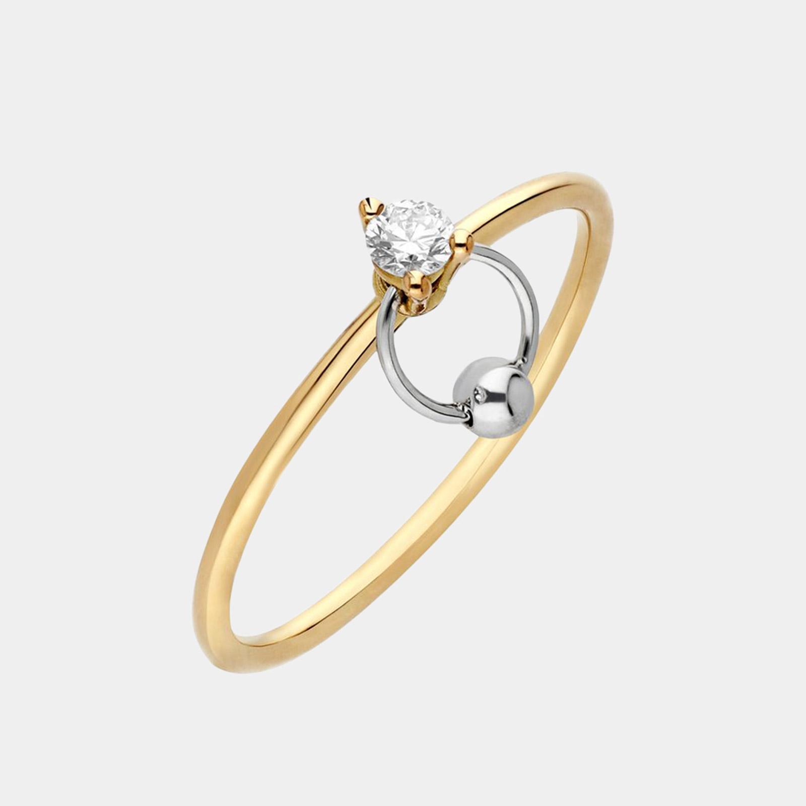 Delfina Delettrez - Fedina Two in One small in oro giallo e bianco e diamante solitario taglio brillanteRosanna Cattolico gioielli